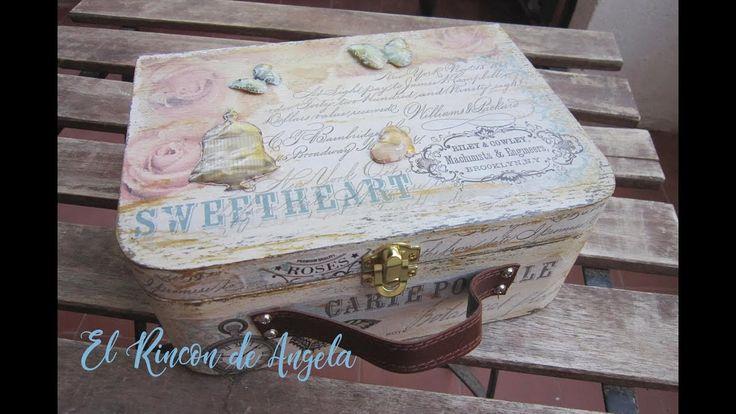 Aprende a decorar una caja de madera con forma de maleta con #decoupage y pintura a la tiza #ChalkPaint #manualidades #crafts #diy #handmade #decoración