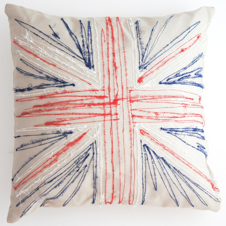 embroidered union jack pillow - so simple, I could do this with the zig-zag stitch on my sewing machine (not really embroidered!!!)