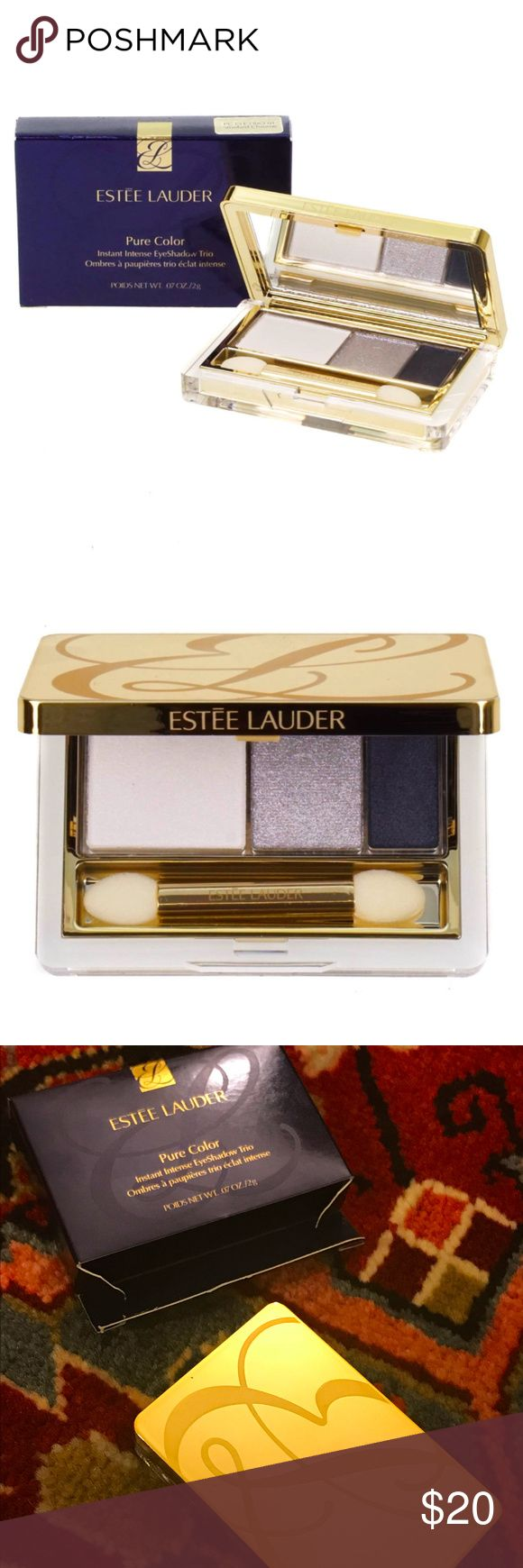 """Estee Pure Color Instant Intensive Eyeshadow Trio [New.Full Size.Boutique] Air-light shadows illuminate with pure brilliance and instant colour intensity. Total eye look trio highlights, defines and lines. Provides amplified colour with multi-metallic effects-from shimmer to high metallic brilliance. Lasts 10-hours. Apply dry, or wet to intensify. Sleek compact includes applicator and mirror. Shade is """"Smoked Chrome"""". Sephora Makeup Eyeshadow"""