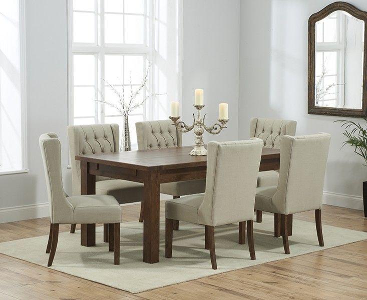 Buy the Normandy 180cm Dark Solid Oak Extending Dining Table with Safia  Fabric Dark Oak Leg