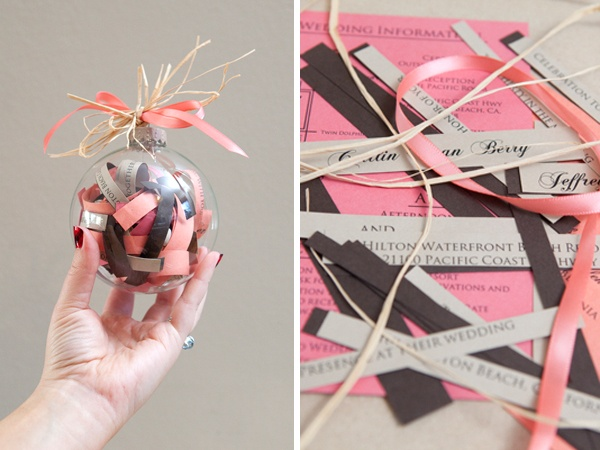 DIY wedding Christmas ornament. I did something similar to this with some of the ribbon and a napkin from our wedding. :)