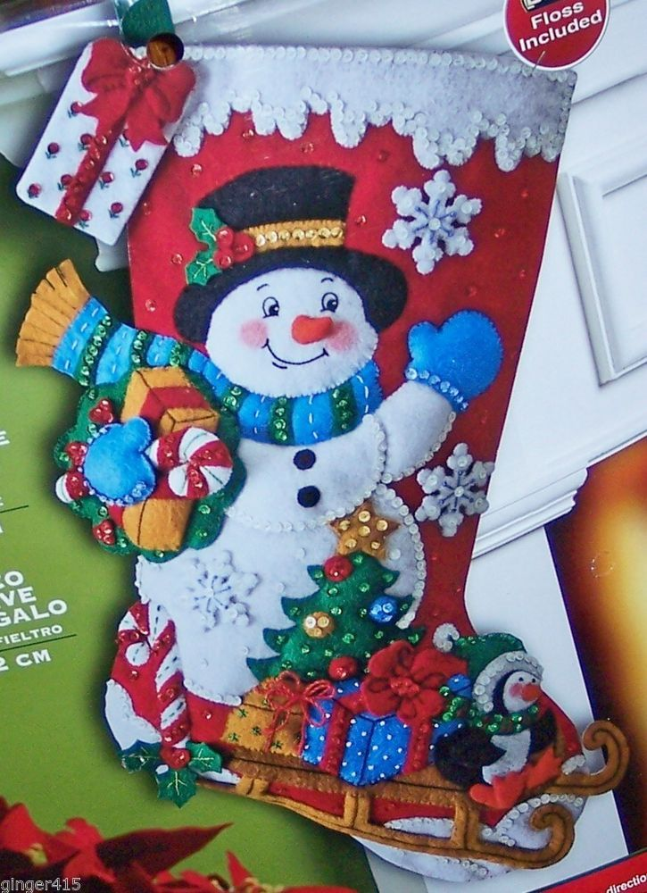 "Bucilla NEW RELEASE ""Snowman With Presents"" Felt Christmas Stocking Kit Candy"