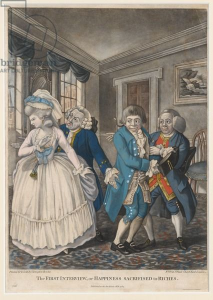 The First Interview, or Happiness Sacrificed to Riches, 1784 (hand-coloured mezzotint)