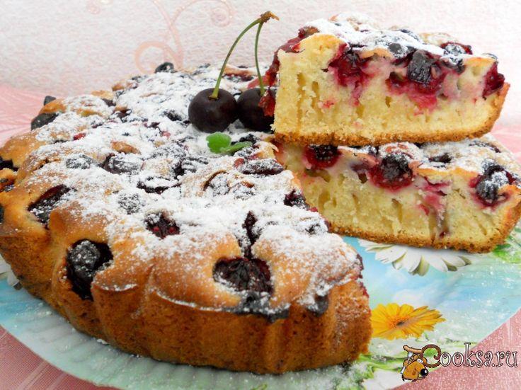 Быстрый пирог с вишнями