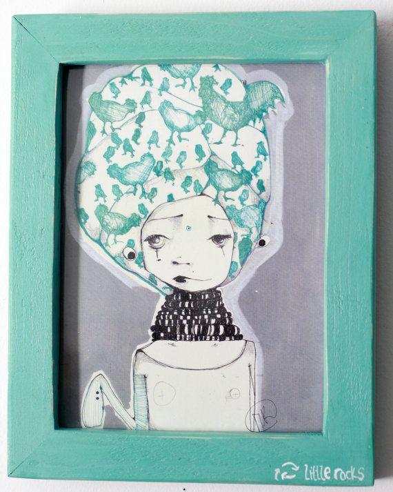 Girl Kika  illustrationframed print wooden frame by littlerocksPK http://littlerocksdesigns.com