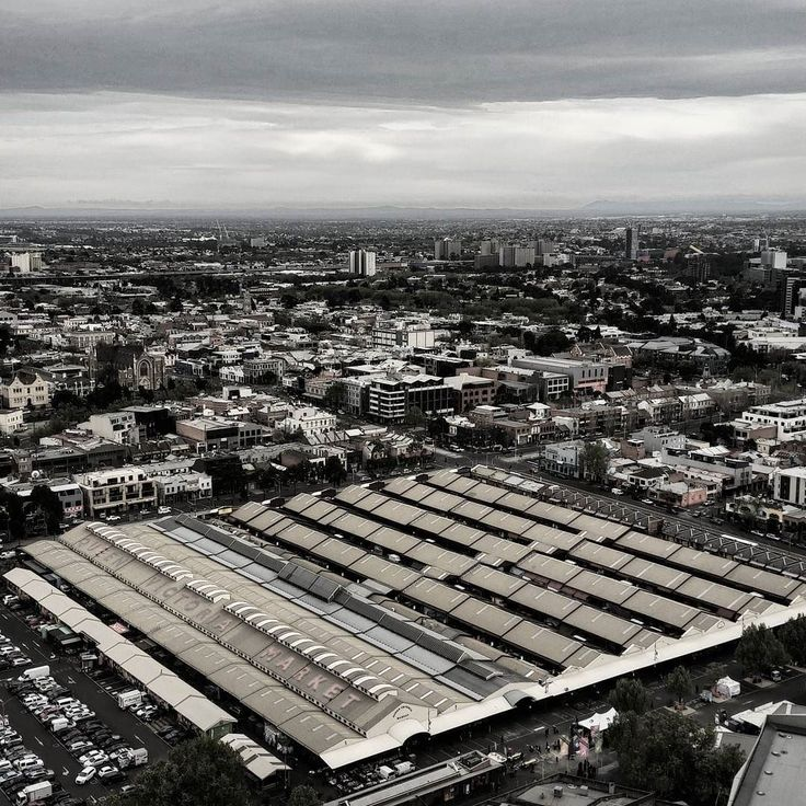 Morning view over Vic Markets and beyond  #melbourne #markets #scenery #views #high #city #monochrome #streetphotography #yolo