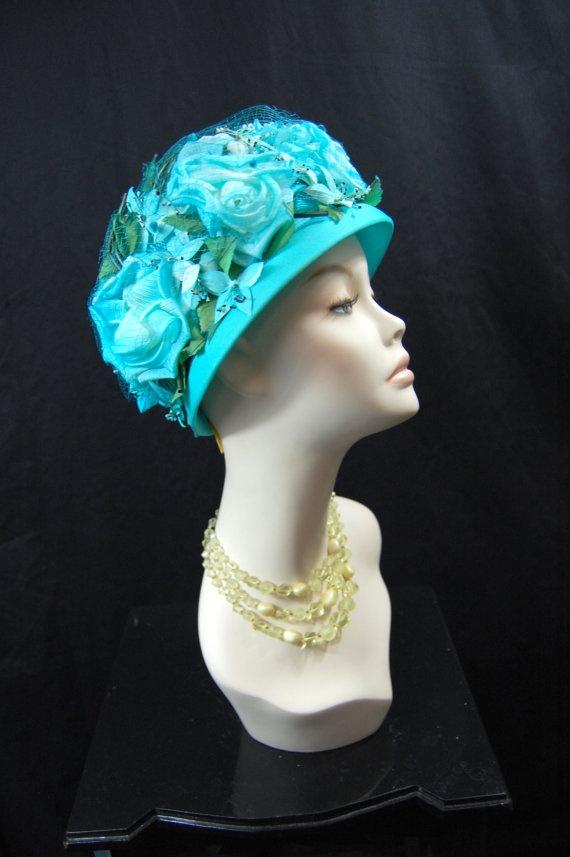 1960s Aqua Floral Hat by FrocksnFrillsVintage on Etsy, $48.00
