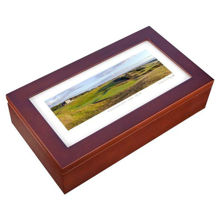 Stonehouse Mahogany Cigar Humidor -- Famous Golf Courses - KINGB18H