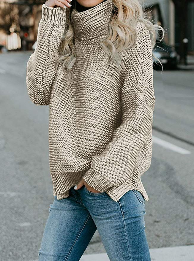 033f63cb714 Amazon Womens Casual Sweaters Turtleneck Long Sleeve Chunky Knit Pullover  Sweater at Amazon Women's Clothing store
