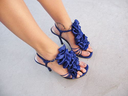 DIY ~ Blue Ruffle Shoes ~  Removable ruffles for your sandals  heels, flats, wedges, pumps, stilettos!