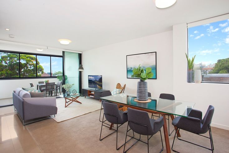 'The Gantry', big living area, leafy district views, dining table, lounge, entertainment unit, wall art, Pilcher Residential