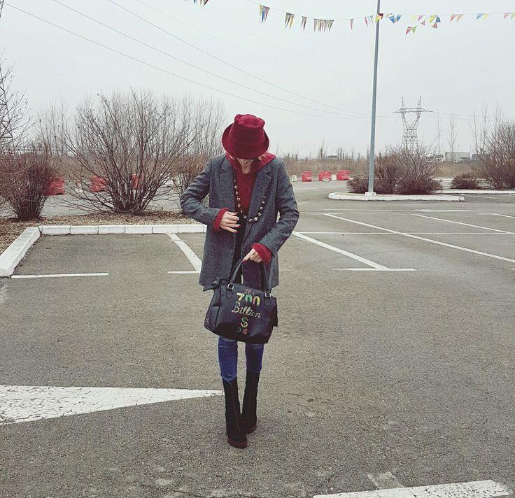 Zara and marsala post : wearing a Zara jacket over a thick marsala pullover