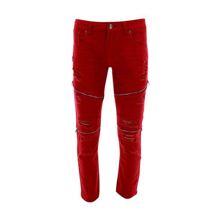 Skazi New York - Men's Twill Rip With Zipper Jean - Red