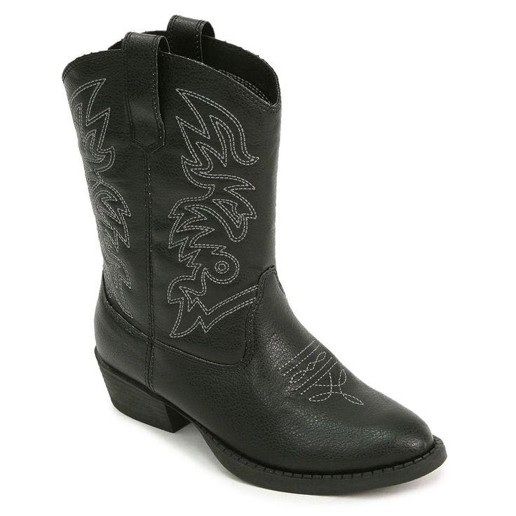Deer Stags Ranch Kids' Cowboy Boots, Kids Unisex, Size: 12, Black
