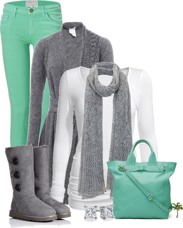 Gray Sweater, Scarf & Boots.  White Top.  Bright Mint Green Jeans & Purse. Love the colors!