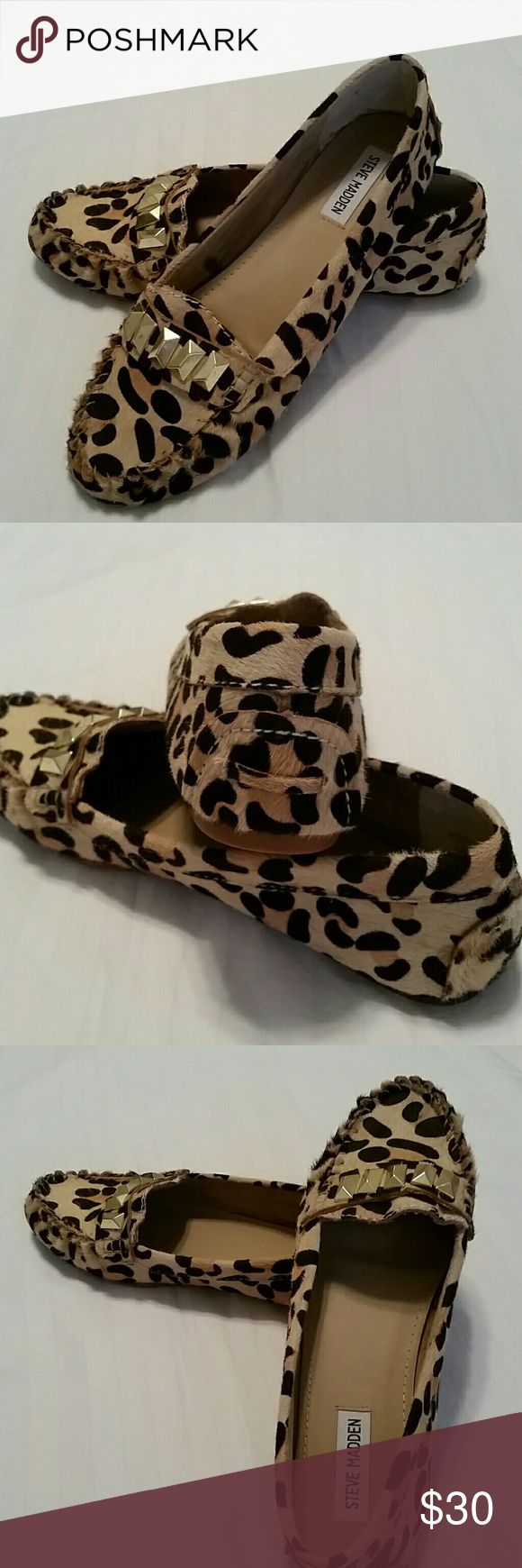 Steve Madden Shoes Steve Madden fur cheetah print studded loafers size 9 Steve Madden Shoes Flats & Loafers