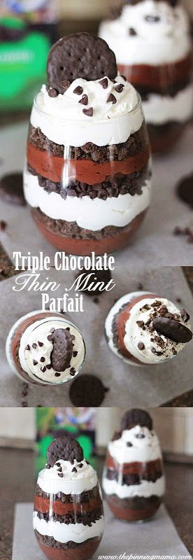 all-food-drink: Triple Chocolate Thin Mint Parfaits