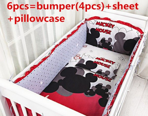 Promotion! 6PCS Mickey Mouse Cotton Crib Bedding Sets For Baby Baby Bedding Sets ,include(bumpers+sheet+pillow cover)