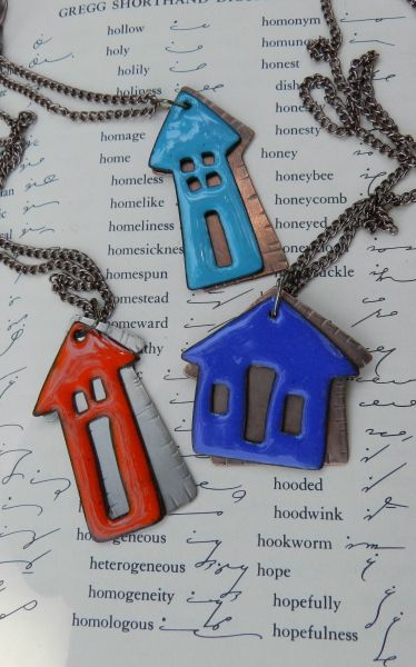 little houses  torch enameled on copper by Cheryl Thorpe