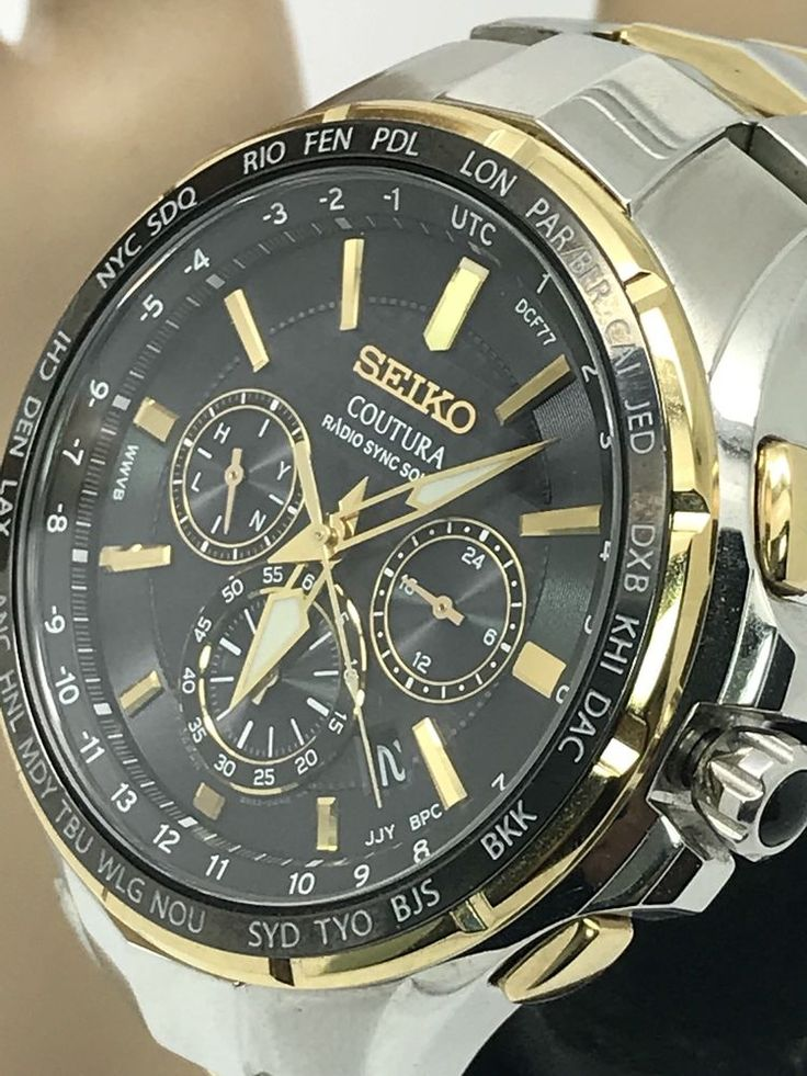 Seiko Coutura Radio Sync Solar Chronograph Two Tone S\S Men's Watch SSG010 #Seiko #Casual