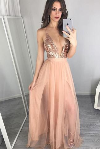 spaghetti straps prom dresses, low cut low prom dresses, 2017 cheap prom dresses for women, cut low long prom dresses , dresses for women, rose gold prom dresses for women. backless long prom dresses
