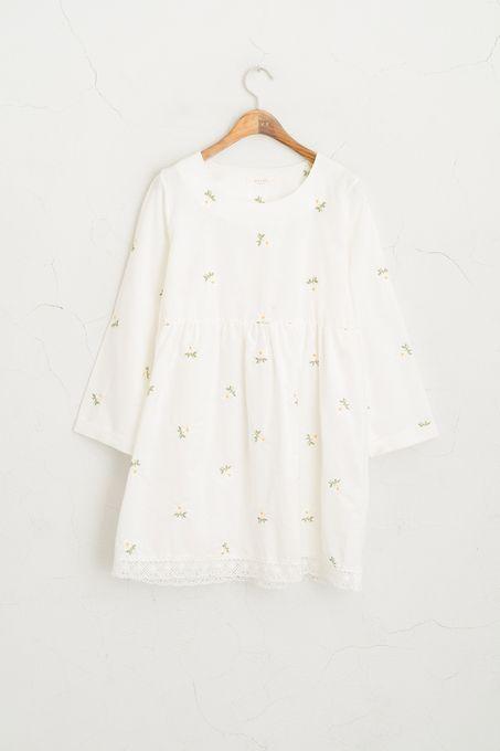 Daisy Stitch Point  Dress, Ivory
