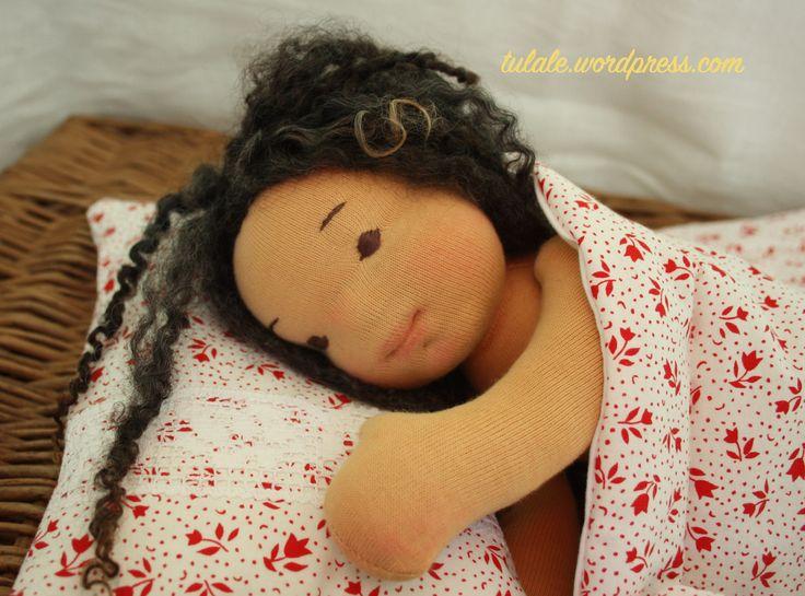 "Sleeping Rose - 12"" natural rag doll"