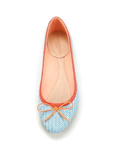 blue woven ballerina flats