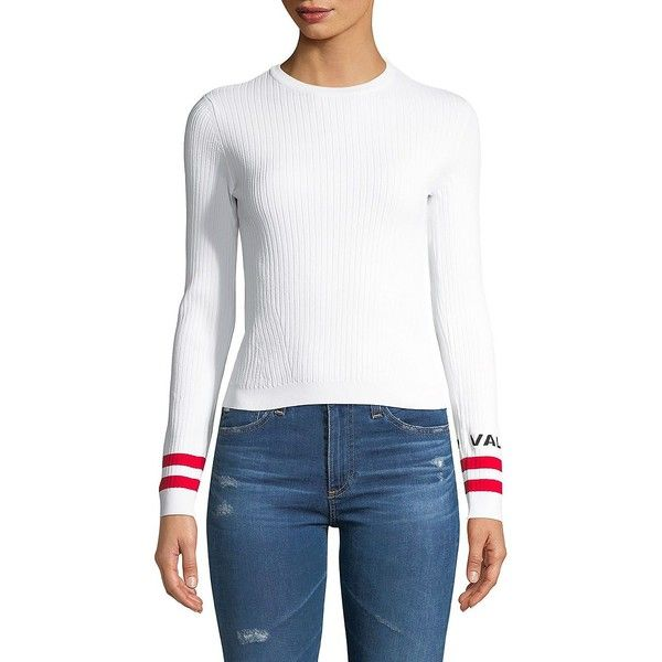 Valentino Rib Knit Logo Tee ($1,290) ❤ liked on Polyvore featuring tops, t-shirts, ribbed knit tee, white tee, ribbed knit top, white long sleeve tee and white logo t shirts