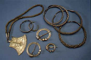 Viking Age silver jewelry from a hoard, Finland