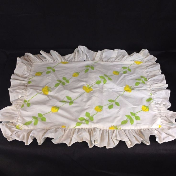 VTG Pillowcase Sham Dior Wamsutta Yellow Rose Percale Retro Flower Floral Ruffle  | eBay