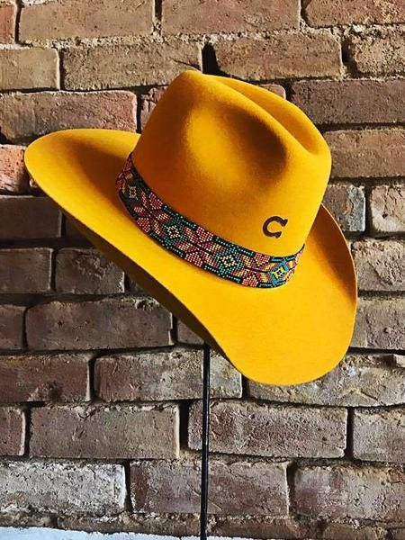 """- Felt - Beaded Hat Band with Leather Concho - Fits 7"""" - 7 1/8"""" - 7 1/4"""""""