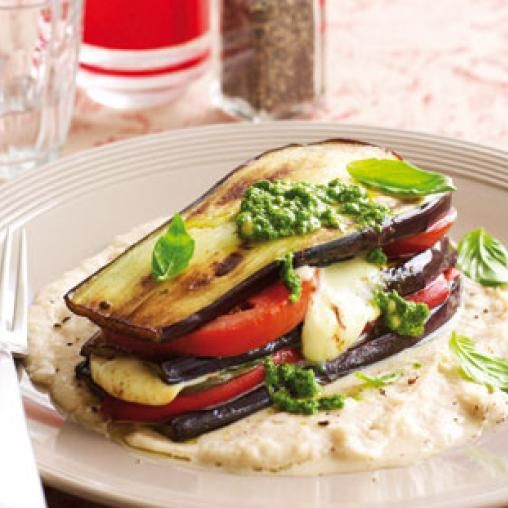 Eggplant and basil stacks   Australian Healthy Food Guide
