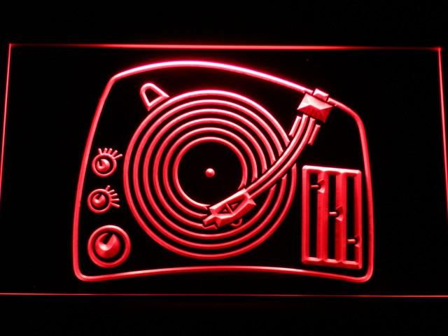 DJ Turntable Mixer Music Spinner LED Sign