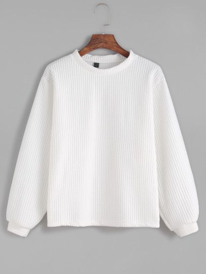 Shop White Long Sleeve Ribbed Sweatshirt online. SheIn offers White Long Sleeve Ribbed Sweatshirt & more to fit your fashionable needs.