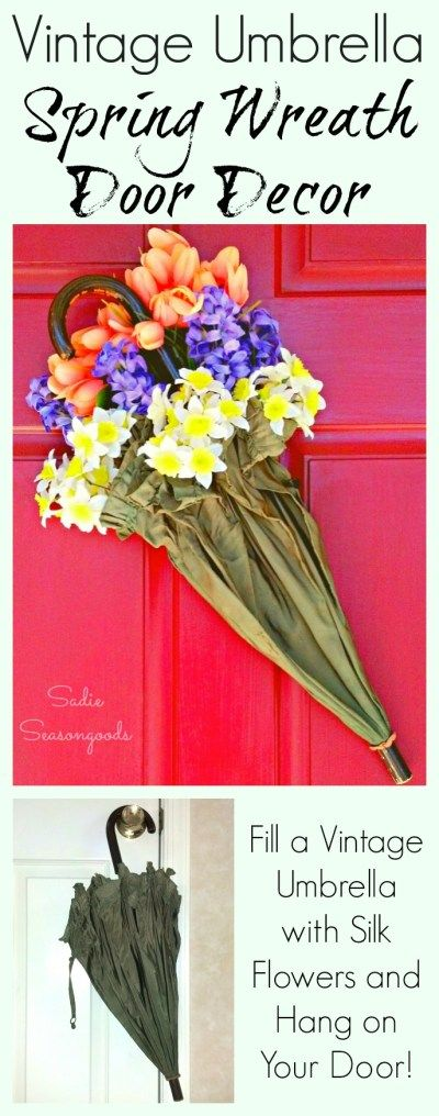 If you have an older umbrella that no longer works as...well...an umbrella, then repurpose it into a unique Spring wreath! Tuck some fresh silk flowers into the folds of the fabric and hang on your front door. A unique upcycle that you can create in minutes...and is a lovely way to decorate for Spring! #SadieSeasongoods / www.sadieseasongoods.com