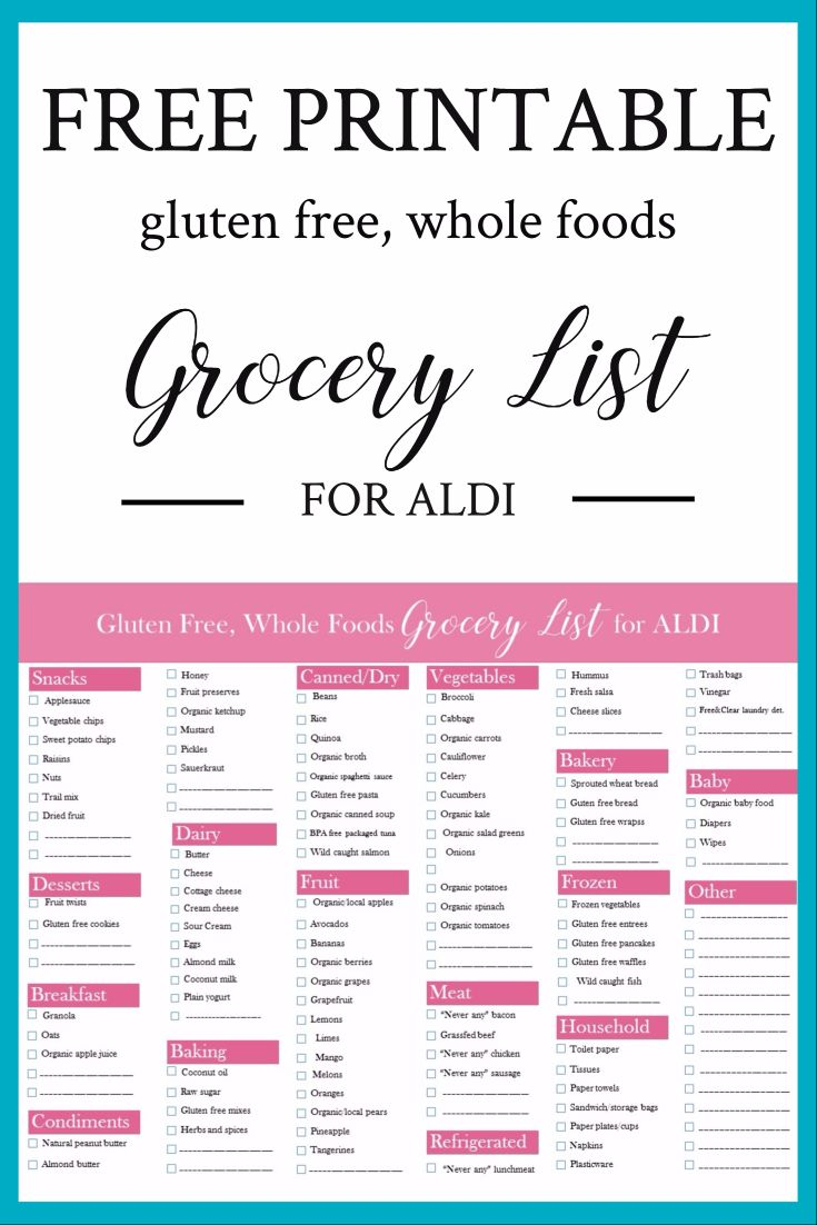It's just a graphic of Remarkable Gluten Free Grocery List Printable