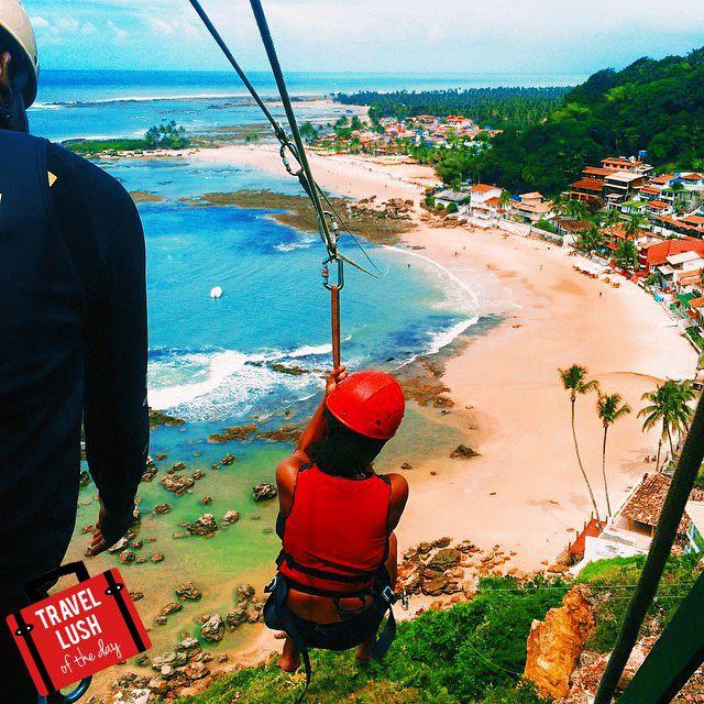 Travel Lush of the Day: @creativekipi ziplining to the beach in Morro de Sao Paulo, #Brazil.  #travellushes #travel
