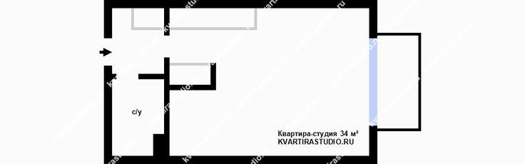 Светлый интерьер квартиры открытого плана 34 м