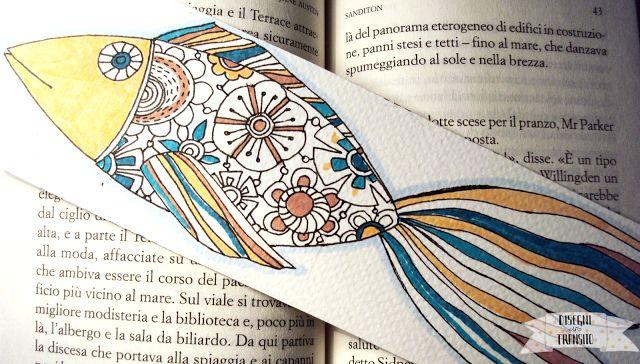 Segnalibro pesce da scaricare gratis, stampare e colorare , illustrazione di Valeria Zaccheddu #freeprintable
