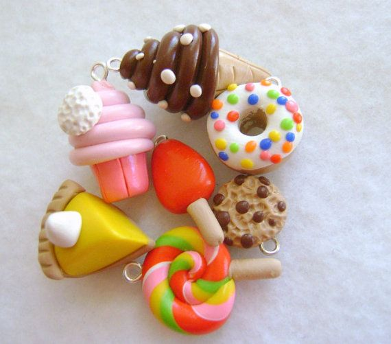 Fimo 7 Pc. Assorted Charms Polymer Clay di Emariecreations su Etsy