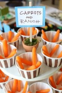 Love the idea of serving carrots at a horse riding party! Individual veggie and dip cups