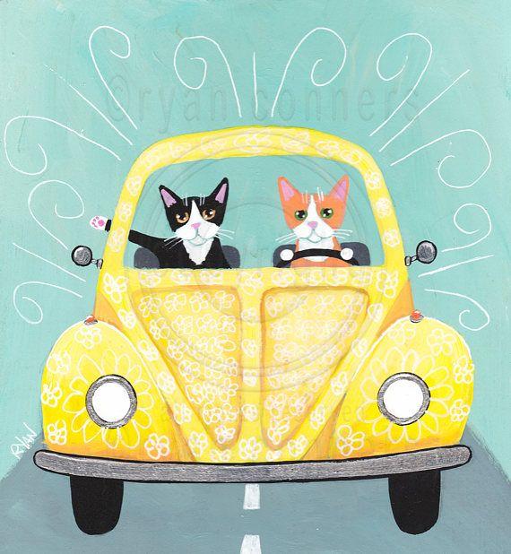 CAT Art Sunny Yellow Spring Break Road Trip Original Cat Folk Art Painting  © Ryan Conners