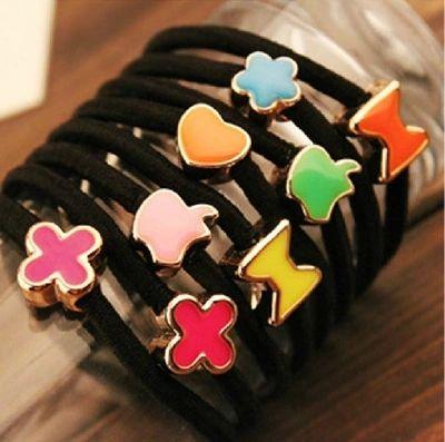 10 stks 55mm Emaille Zwarte Elastische Paardenstaart Houders Haaraccessoires Voor Meisje Vrouwen Elastiekjes Tie Gom (Mix stijl)
