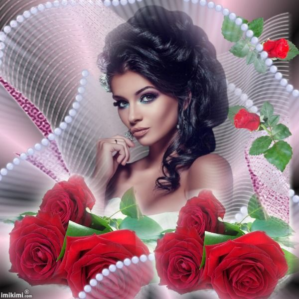 You can replace her photo with yours if you click on it. This is from imikimi.com, a free photo montage site.   #roses #love #pretty #lady #photomontage #collage #red #pearls
