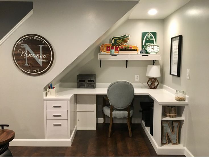 20 Homework Station Ideas For Kids And Teens Desk Under Stairs Rustic Basement Basement Office