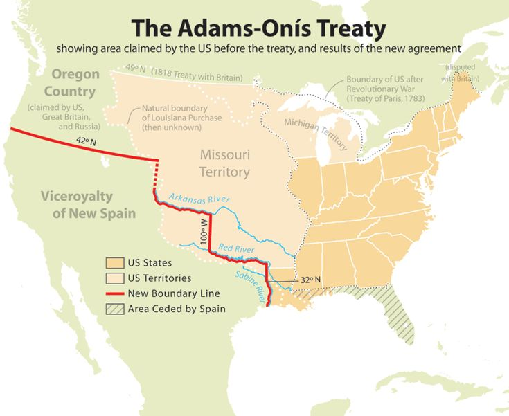 The Adams–Onís Treaty of 1819, also known as the Transcontinental Treaty or the Purchase of Florida, was a treaty between the United States and Spain in 1819 that gave Florida to the U.S. and set out a boundary between the U.S. and New Spain (now Mexico).