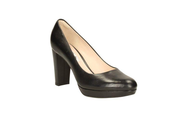 Clarks Womens Kendra Sienna Black Leather Smart Court Shoe