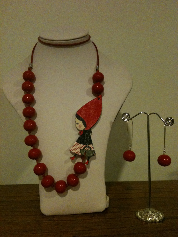 Original and funky little red riding hood necklace, wood girl and resin beads
