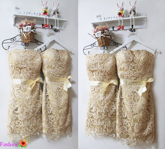 Lace Bridesmaid DressChampagne Bridesmaid by FashionStreets
